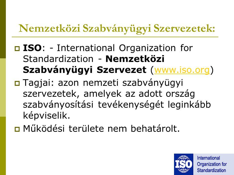 Nemzetközi Szabványügyi Szervezetek:  ISO: - International Organization for Standardization - Nemzetközi Szabványügyi Szervezet (www.iso.org)www.iso.org  Tagjai: azon nemzeti szabványügyi szervezetek, amelyek az adott ország szabványosítási tevékenységét leginkább képviselik.