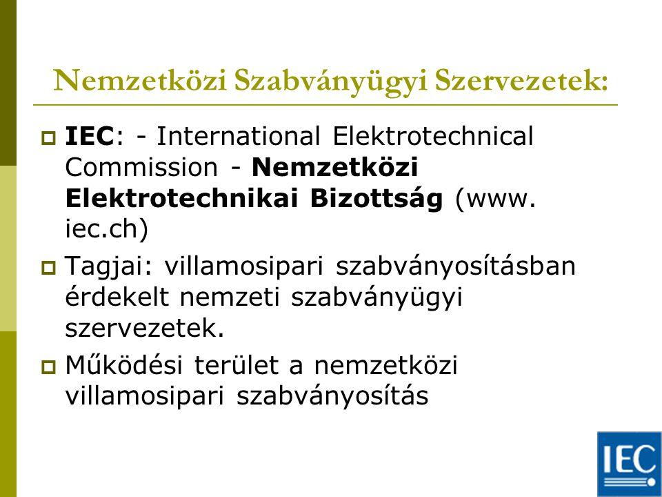 Nemzetközi Szabványügyi Szervezetek:  IEC: - International Elektrotechnical Commission - Nemzetközi Elektrotechnikai Bizottság (www.