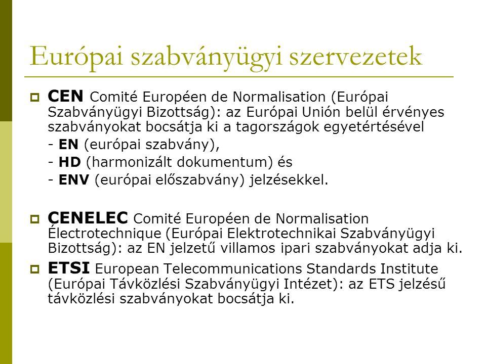 Európai szabványügyi szervezetek  CEN Comité Européen de Normalisation (Európai Szabványügyi Bizottság): az Európai Unión belül érvényes szabványokat bocsátja ki a tagországok egyetértésével - EN (európai szabvány), - HD (harmonizált dokumentum) és - ENV (európai előszabvány) jelzésekkel.