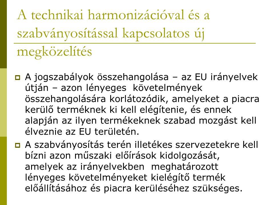 A technikai harmonizációval és a szabványosítással kapcsolatos új megközelítés  A jogszabályok összehangolása – az EU irányelvek útján – azon lényeges követelmények összehangolására korlátozódik, amelyeket a piacra kerülő terméknek ki kell elégítenie, és ennek alapján az ilyen termékeknek szabad mozgást kell élveznie az EU területén.