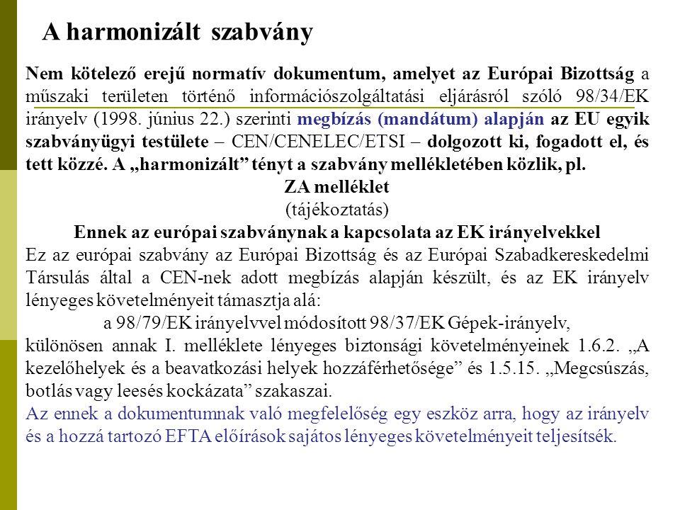 A harmonizált szabvány Nem kötelező erejű normatív dokumentum, amelyet az Európai Bizottság a műszaki területen történő információszolgáltatási eljárásról szóló 98/34/EK irányelv (1998.