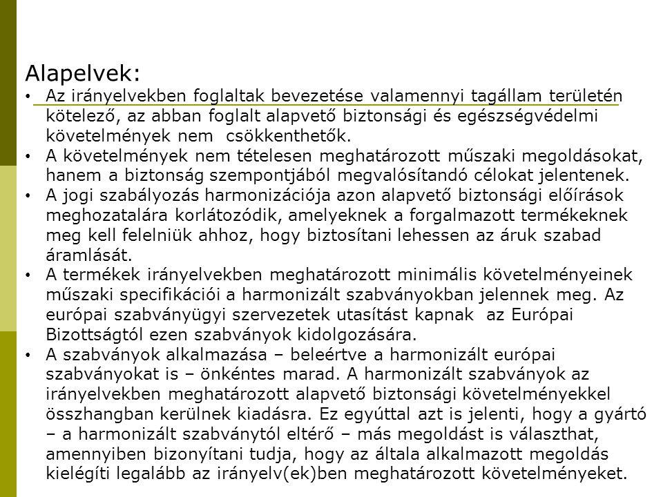 Új megközelítésű irányelvek, melyek előírják a CE jelölést 94/25/EKSzabadidős vízi járművek 2/2000.(VII.26.) KöViM r.