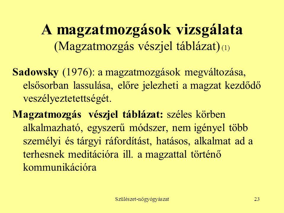 Szülészet-nőgyógyászat23 A magzatmozgások vizsgálata (Magzatmozgás vészjel táblázat) (1) Sadowsky (1976): a magzatmozgások megváltozása, elsősorban la