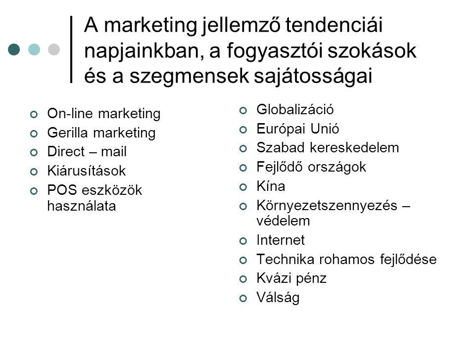 A marketing jellemző tendenciái napjainkban, a fogyasztói szokások és a szegmensek sajátosságai On-line marketing Gerilla marketing Direct – mail Kiár