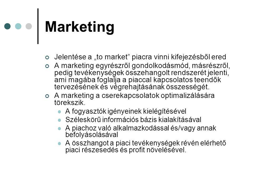 """Marketing Jelentése a """"to market"""" piacra vinni kifejezésből ered A marketing egyrészről gondolkodásmód, másrészről, pedig tevékenységek összehangolt r"""