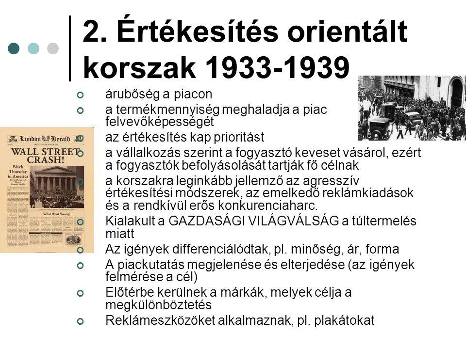 2. Értékesítés orientált korszak 1933-1939 árubőség a piacon a termékmennyiség meghaladja a piac felvevőképességét az értékesítés kap prioritást a vál