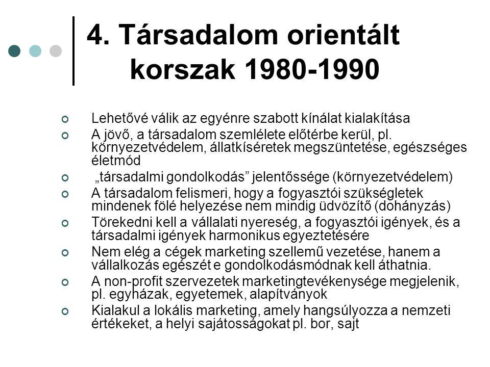 4. Társadalom orientált korszak 1980-1990 Lehetővé válik az egyénre szabott kínálat kialakítása A jövő, a társadalom szemlélete előtérbe kerül, pl. kö