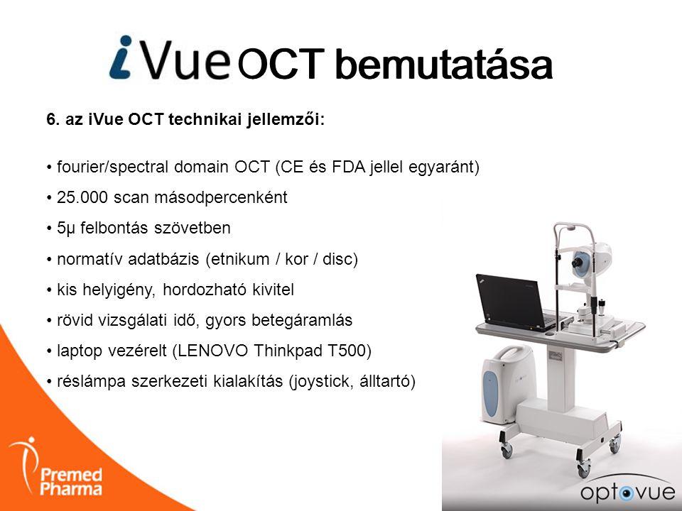iVUE OCT bemutatása OCT bemutatása 6. az iVue OCT technikai jellemzői: • fourier/spectral domain OCT (CE és FDA jellel egyaránt) • 25.000 scan másodpe