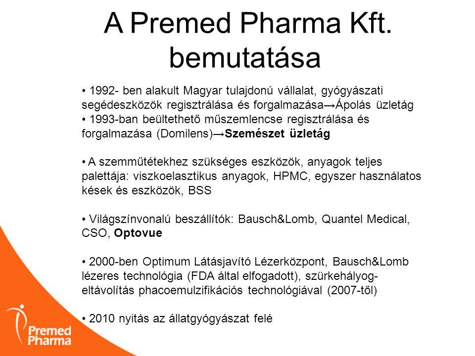 A Premed Pharma Kft. bemutatása • 1992- ben alakult Magyar tulajdonú vállalat, gyógyászati segédeszközök regisztrálása és forgalmazása→Ápolás üzletág