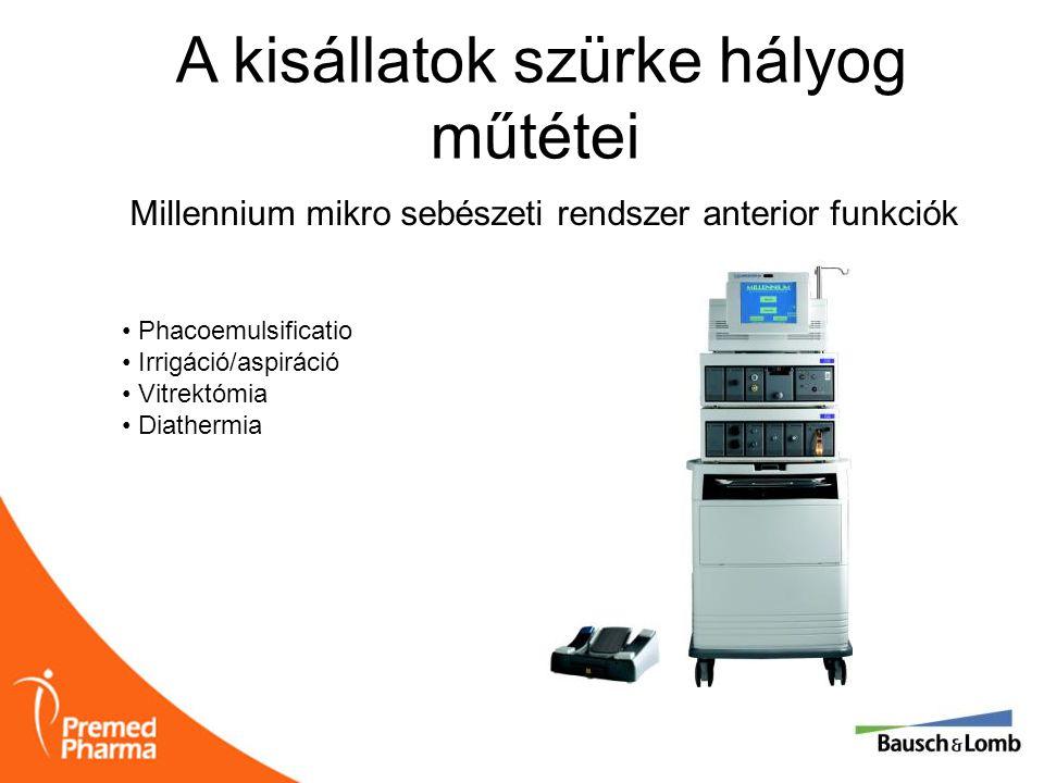 A kisállatok szürke hályog műtétei Millennium mikro sebészeti rendszer anterior funkciók • Phacoemulsificatio • Irrigáció/aspiráció • Vitrektómia • Di