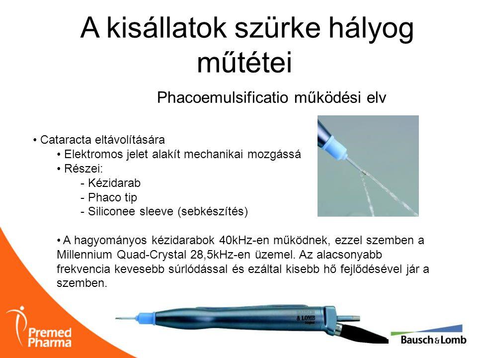A kisállatok szürke hályog műtétei • Cataracta eltávolítására • Elektromos jelet alakít mechanikai mozgássá • Részei: - Kézidarab - Phaco tip - Silico