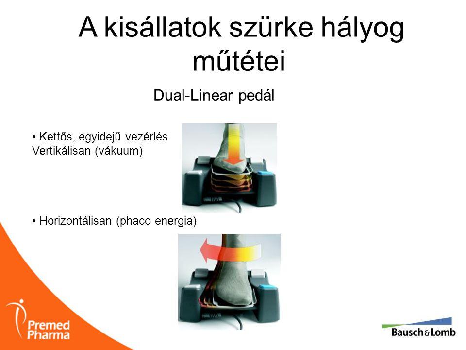A kisállatok szürke hályog műtétei • Kettős, egyidejű vezérlés Vertikálisan (vákuum) • Horizontálisan (phaco energia) Dual-Linear pedál