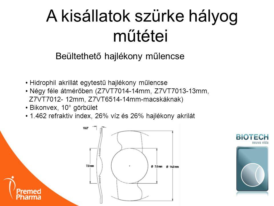 A kisállatok szürke hályog műtétei Beültethető hajlékony műlencse • Hidrophil akrillát egytestű hajlékony műlencse • Négy féle átmérőben (Z7VT7014-14m