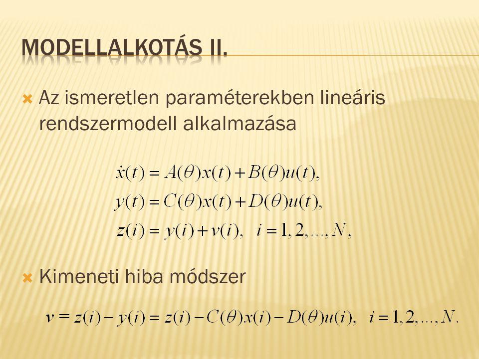  Az ismeretlen paraméterekben lineáris rendszermodell alkalmazása  Kimeneti hiba módszer