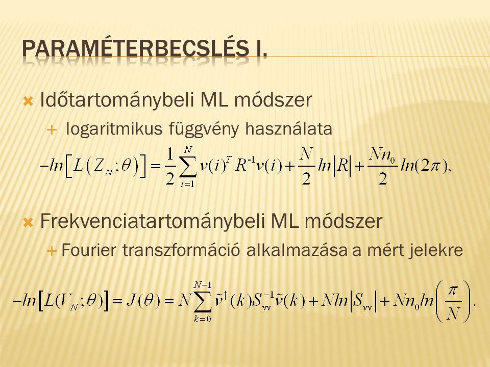  Időtartománybeli ML módszer  logaritmikus függvény használata  Frekvenciatartománybeli ML módszer  Fourier transzformáció alkalmazása a mért jele