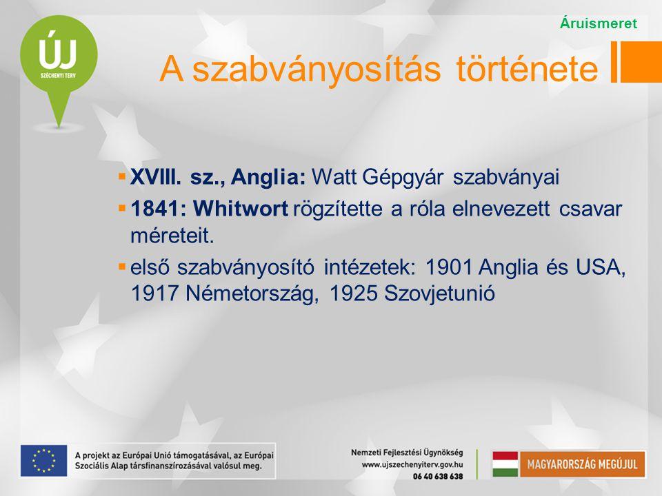 1926: első nemzetközi szabványügyi szervezet, az ISA   1946: ISO (International Organization for Standardization = Nemzetközi Szabványügyi Szervezet) Székhelye Genf.