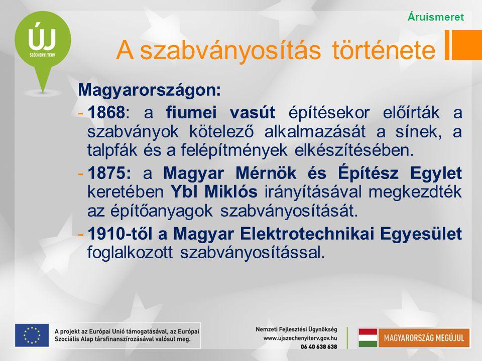 A szabványosítás története Magyarországon: -1921: Magyar Ipari Szabványosító Bizottság  -1933: Magyar Szabványügyi Intézet  -1951: Magyar Szabványügyi Hivatal (MSZH).