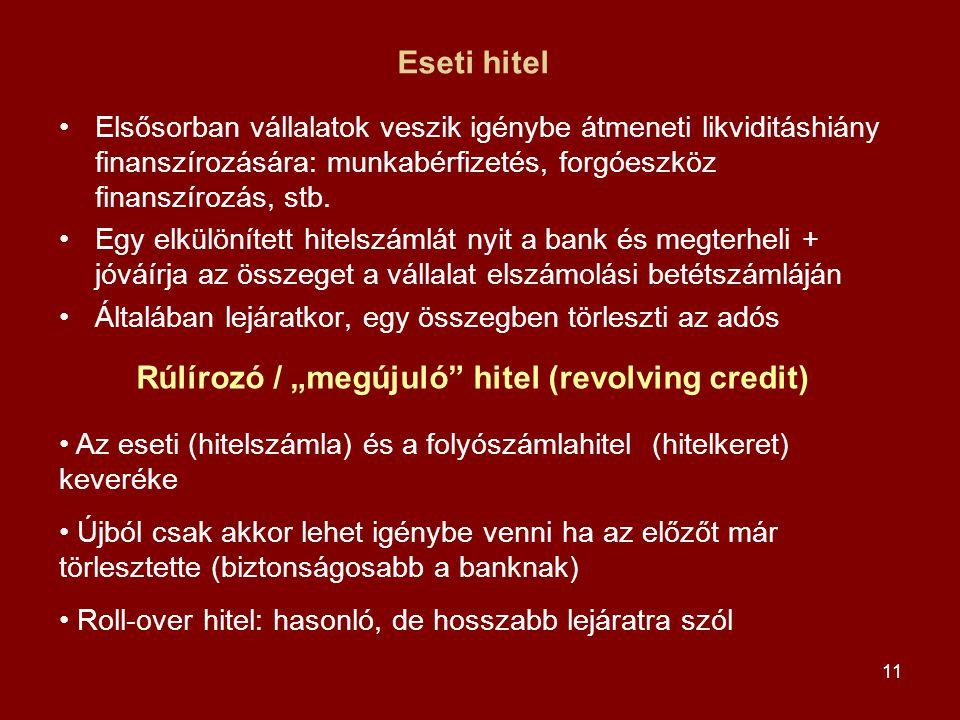 11 Eseti hitel •Elsősorban vállalatok veszik igénybe átmeneti likviditáshiány finanszírozására: munkabérfizetés, forgóeszköz finanszírozás, stb. •Egy