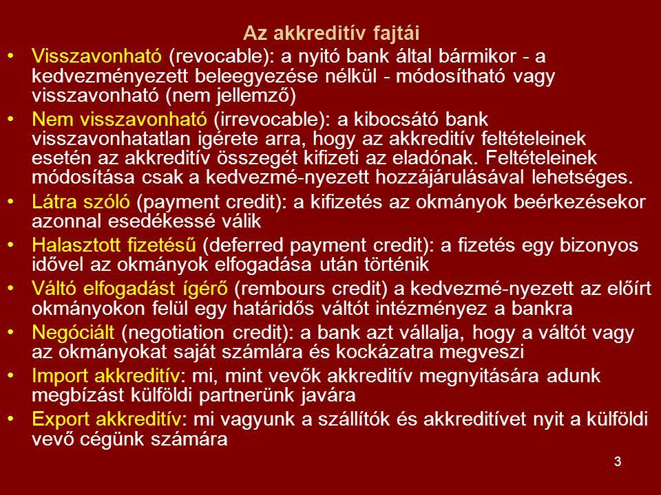 3 Az akkreditív fajtái •Visszavonható (revocable): a nyitó bank által bármikor - a kedvezményezett beleegyezése nélkül - módosítható vagy visszavonhat