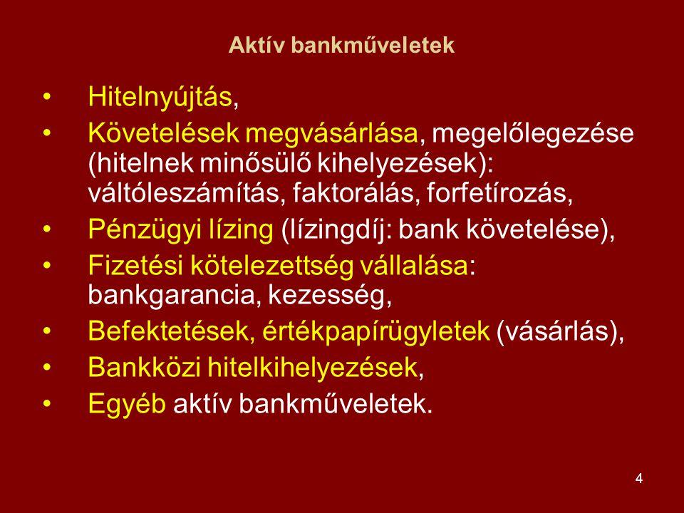 4 Aktív bankműveletek •Hitelnyújtás, •Követelések megvásárlása, megelőlegezése (hitelnek minősülő kihelyezések): váltóleszámítás, faktorálás, forfetír