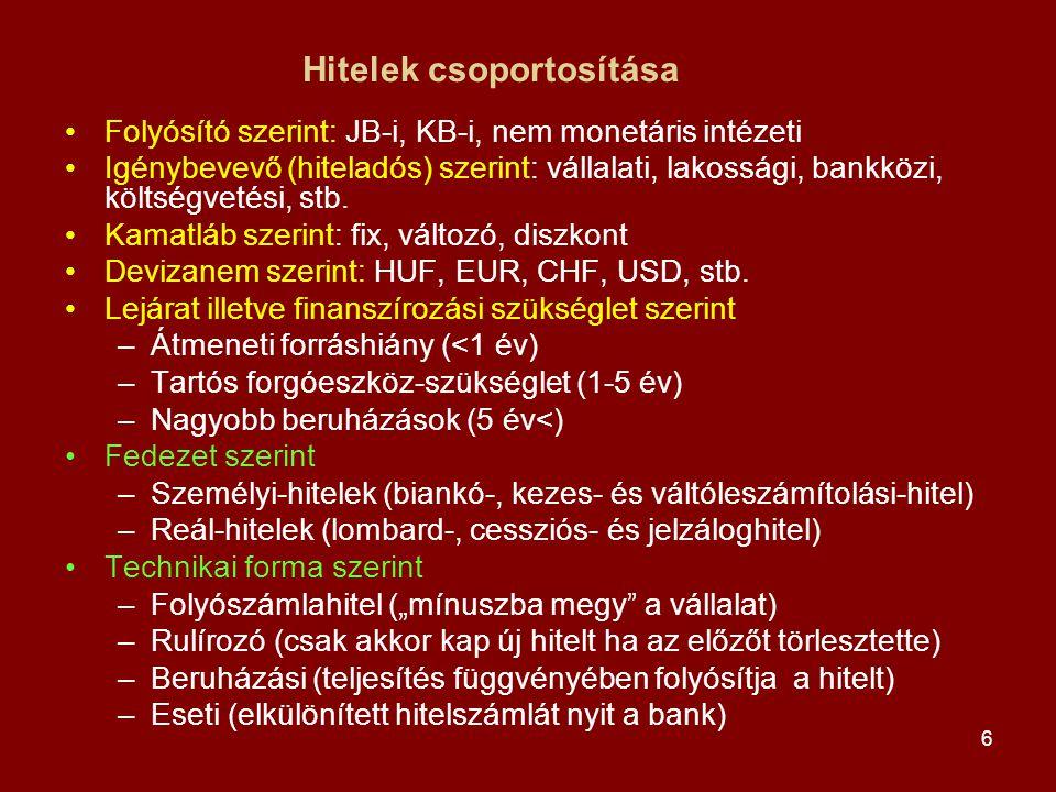7 Személyi (fogyasztási) hitelek / kölcsönök •Egy személy fizetőképessége a hitel fedezete Fajtái: •Biankó hitel: a fedezet az adós gazdálkodásának pénzárama (áruvásárlási hitel/kölcsön - kötött felhasználás, diákhitel – szabad felhasználás) •Kezeshitel: az adóstól különböző személy a fedezet •Váltóleszámítolási hitel: követelés a kibocsátóval vagy a címzettel szemben Jellemzői: •Lakásfelújításra/vásárlásra, autóvásárlásra, tartós fogyasztási cikkek vásárlásra, utazásra ajánlják a bankok •Gyors hitelbírálat, deviza alapú is lehet, THM 20-30% körül •Igazolni kell a visszafizetési képességet: jövedelmigazolás, befizetett talefonszámla, bankszámlakivonat, stb.