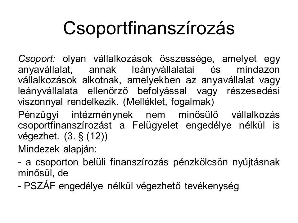 Csoportfinanszírozás Csoport: olyan vállalkozások összessége, amelyet egy anyavállalat, annak leányvállalatai és mindazon vállalkozások alkotnak, amel