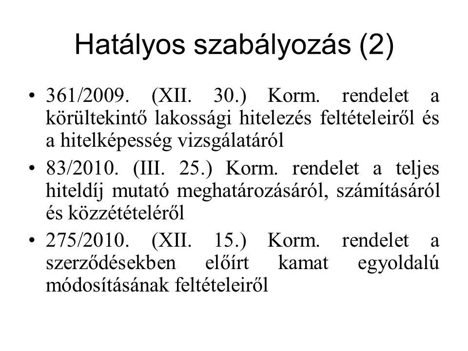 Teljes hiteldíj mutató 83/2010.(III. 25.) Korm.