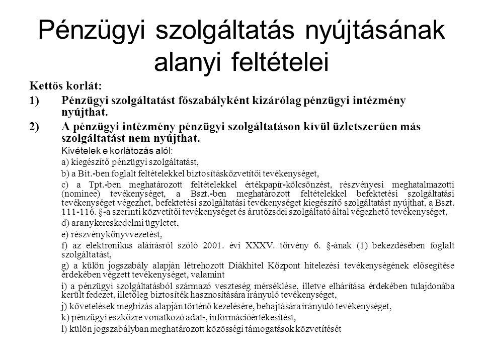 Tájékoztatás az alkalmazandó jogról és bírósági illetékességről A pénzügyi intézmény speciális tájékoztatási kötelezettsége: - a szerződés megkötése előtt, - ha a szerződéssel kapcsolatos jogvita esetén a) nem a magyar jog alkalmazását, illetve b) nem a magyar bíróság kizárólagos illetékességét kötik ki.