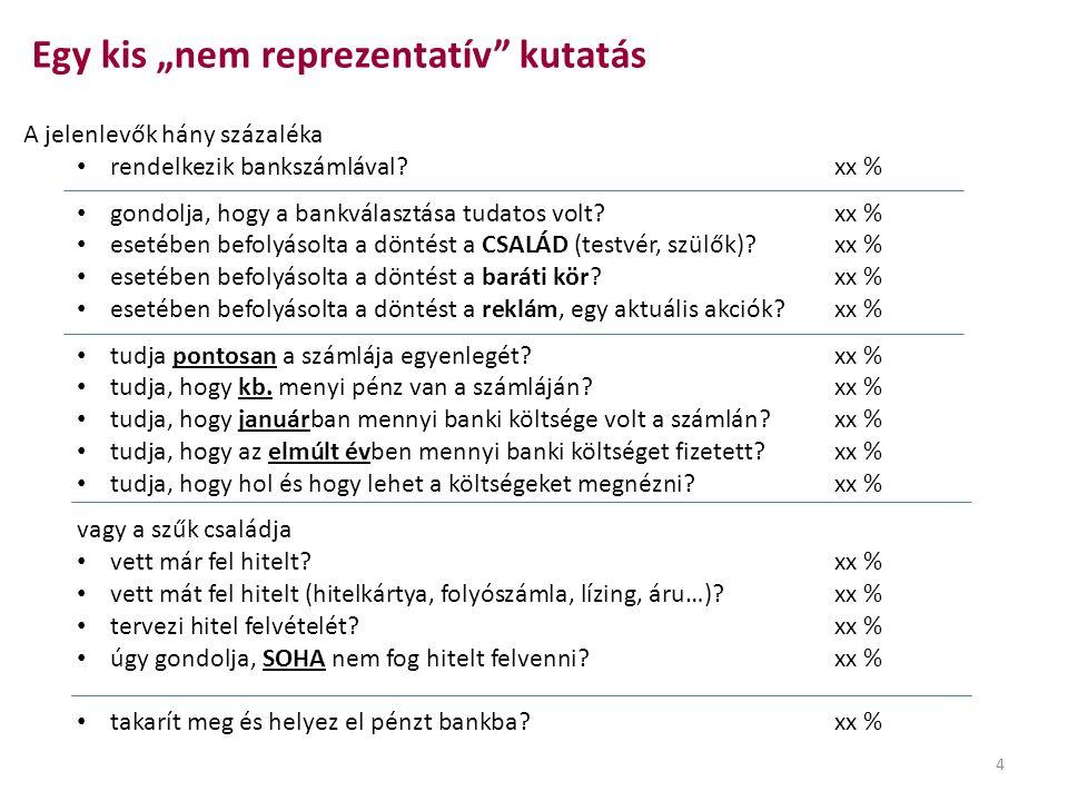 A jelenlevők hány százaléka • rendelkezik bankszámlával?xx % • gondolja, hogy a bankválasztása tudatos volt?xx % • esetében befolyásolta a döntést a C