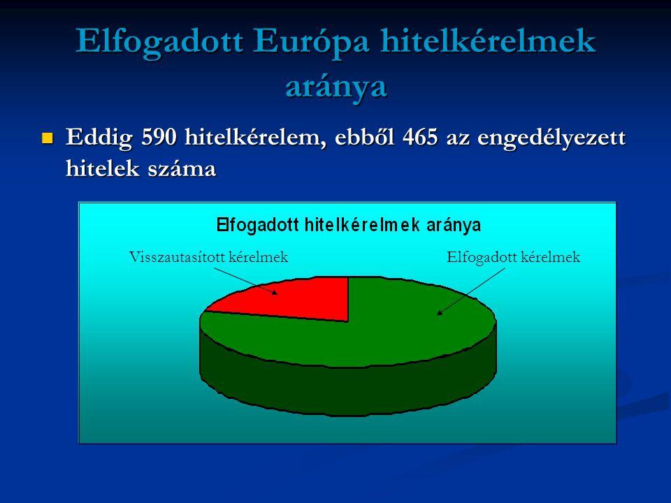 Elfogadott Európa hitelkérelmek aránya  Eddig 590 hitelkérelem, ebből 465 az engedélyezett hitelek száma Visszautasított kérelmekElfogadott kérelmek
