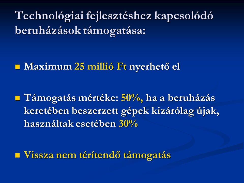Technológiai fejlesztéshez kapcsolódó beruházások támogatása:  Maximum 25 millió Ft nyerhető el  Támogatás mértéke: 50%, ha a beruházás keretében beszerzett gépek kizárólag újak, használtak esetében 30%  Vissza nem térítendő támogatás