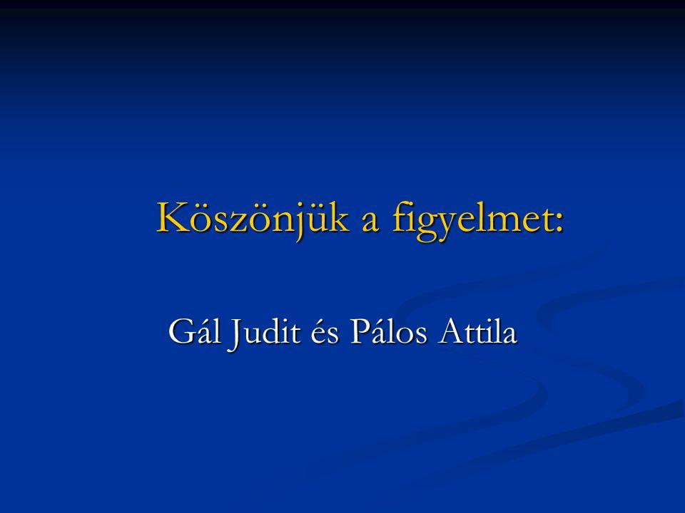 Köszönjük a figyelmet: Köszönjük a figyelmet: Gál Judit és Pálos Attila