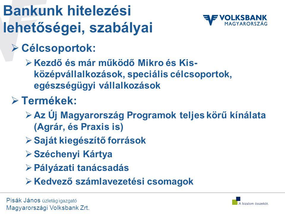 Pisák János üzletág igazgató Magyarországi Volksbank Zrt. Bankunk hitelezési lehetőségei, szabályai  Célcsoportok:  Kezdő és már működő Mikro és Kis