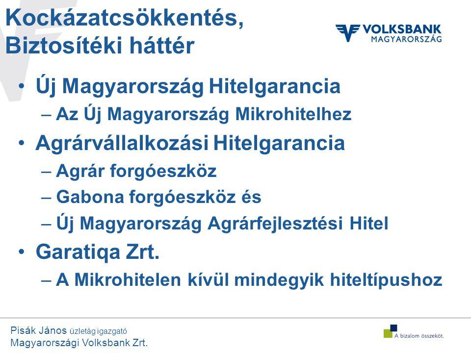 Pisák János üzletág igazgató Magyarországi Volksbank Zrt. Kockázatcsökkentés, Biztosítéki háttér •Új Magyarország Hitelgarancia –Az Új Magyarország Mi