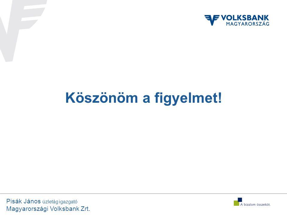 Pisák János üzletág igazgató Magyarországi Volksbank Zrt. Köszönöm a figyelmet!