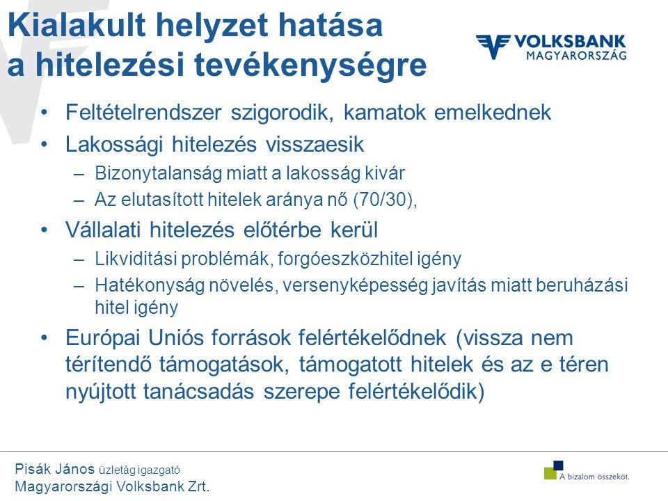Pisák János üzletág igazgató Magyarországi Volksbank Zrt. Kialakult helyzet hatása a hitelezési tevékenységre •Feltételrendszer szigorodik, kamatok em