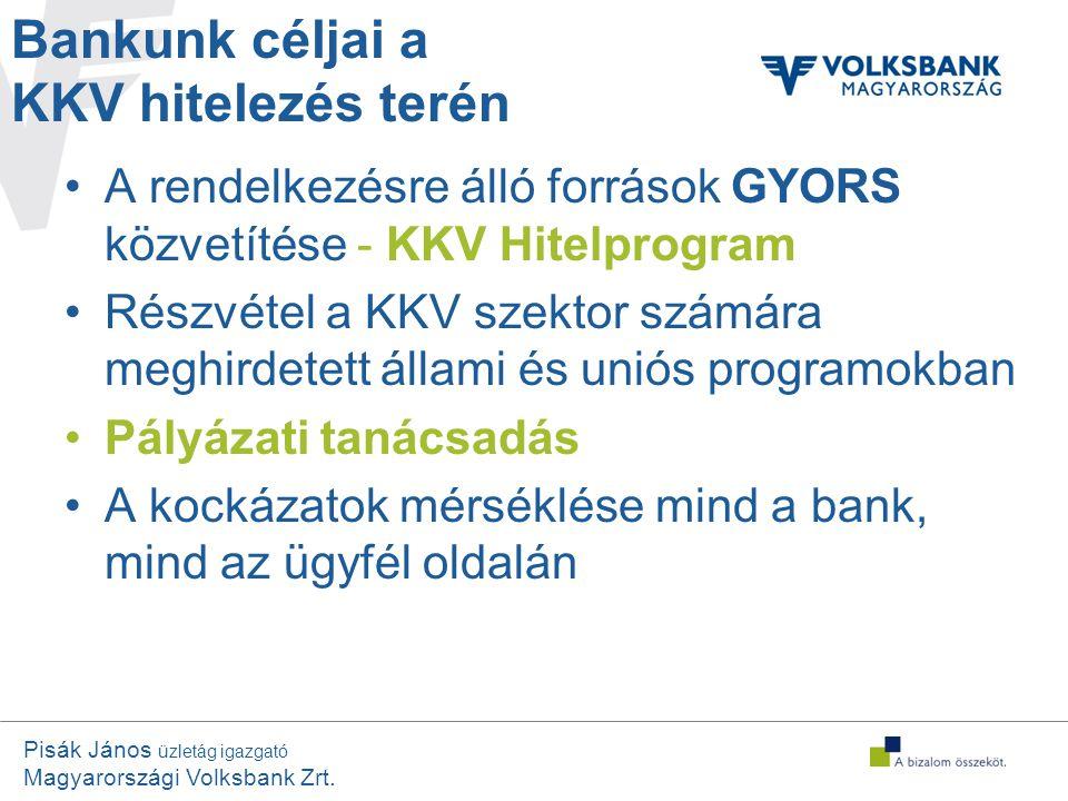 Pisák János üzletág igazgató Magyarországi Volksbank Zrt. •A rendelkezésre álló források GYORS közvetítése - KKV Hitelprogram •Részvétel a KKV szektor