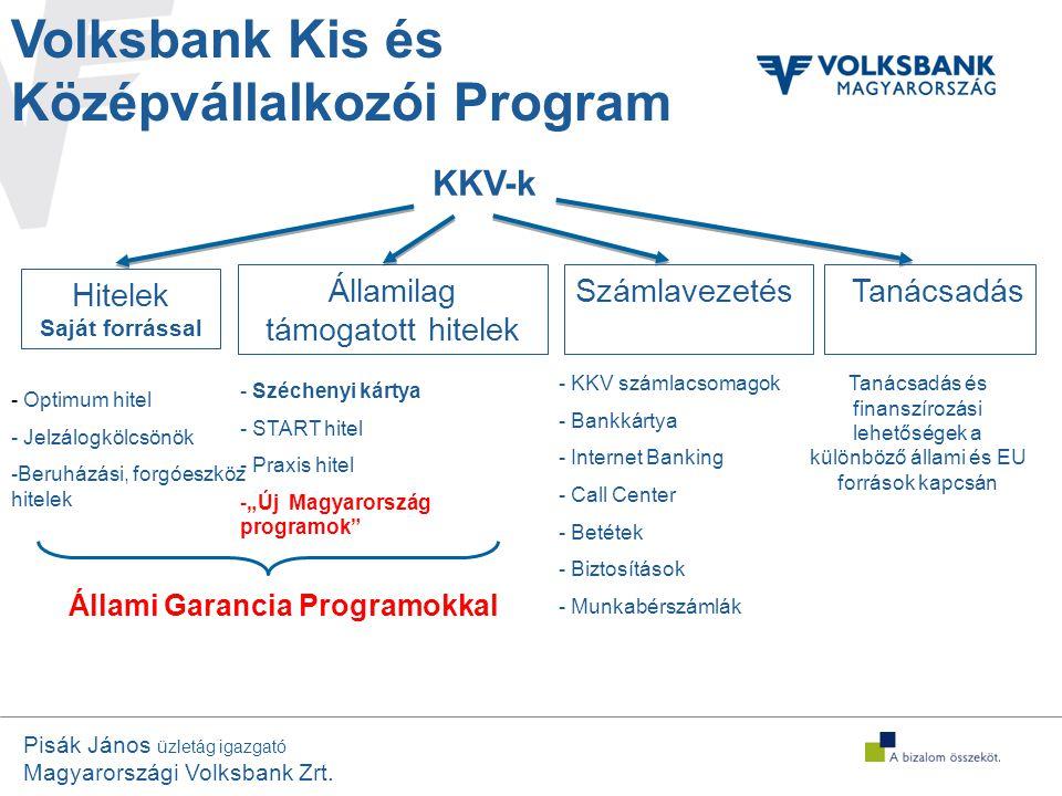"""Pisák János üzletág igazgató Magyarországi Volksbank Zrt. Volksbank Kis és Középvállalkozói Program - Széchenyi kártya - START hitel - Praxis hitel -"""""""