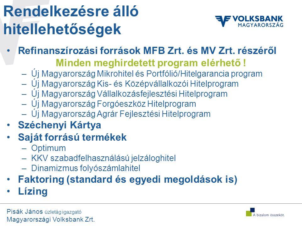 Pisák János üzletág igazgató Magyarországi Volksbank Zrt. Rendelkezésre álló hitellehetőségek •Refinanszírozási források MFB Zrt. és MV Zrt. részéről