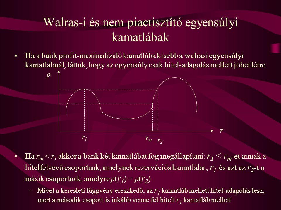 Walras-i és nem piactisztító egyensúlyi kamatlábak •Ha a bank profit-maximalizáló kamatlába kisebb a walrasi egyensúlyi kamatlábnál, láttuk, hogy az e