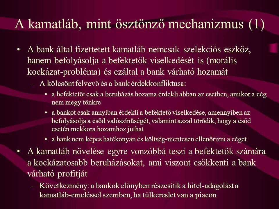 A kamatláb, mint ösztönző mechanizmus (1) •A bank által fizettetett kamatláb nemcsak szelekciós eszköz, hanem befolyásolja a befektetők viselkedését i