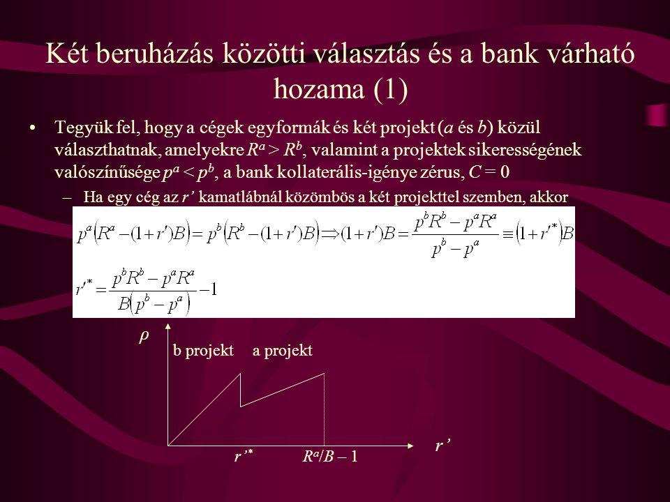 Két beruházás közötti választás és a bank várható hozama (1) •Tegyük fel, hogy a cégek egyformák és két projekt (a és b) közül választhatnak, amelyekr