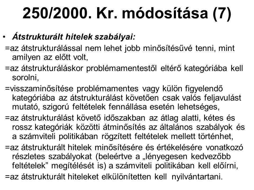 250/2000. Kr. módosítása (7) •Átstrukturált hitelek szabályai: =az átstrukturálással nem lehet jobb minősítésűvé tenni, mint amilyen az előtt volt, =a