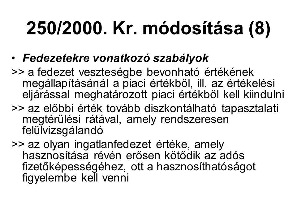 250/2000. Kr. módosítása (8) •Fedezetekre vonatkozó szabályok >> a fedezet veszteségbe bevonható értékének megállapításánál a piaci értékből, ill. az