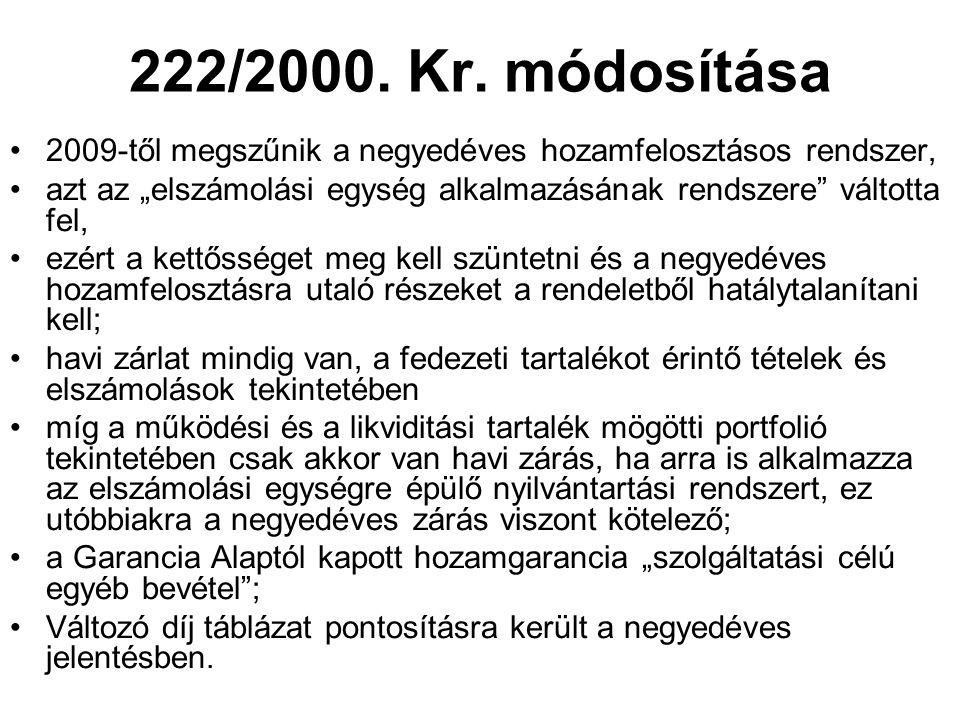 """222/2000. Kr. módosítása •2009-től megszűnik a negyedéves hozamfelosztásos rendszer, •azt az """"elszámolási egység alkalmazásának rendszere"""" váltotta fe"""