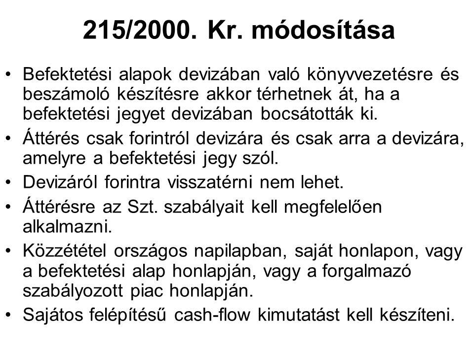 215/2000. Kr. módosítása •Befektetési alapok devizában való könyvvezetésre és beszámoló készítésre akkor térhetnek át, ha a befektetési jegyet devizáb