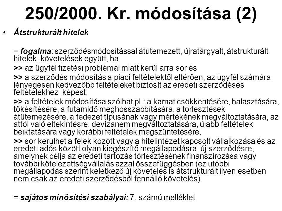 250/2000. Kr. módosítása (2) •Átstrukturált hitelek = fogalma: szerződésmódosítással átütemezett, újratárgyalt, átstrukturált hitelek, követelések egy