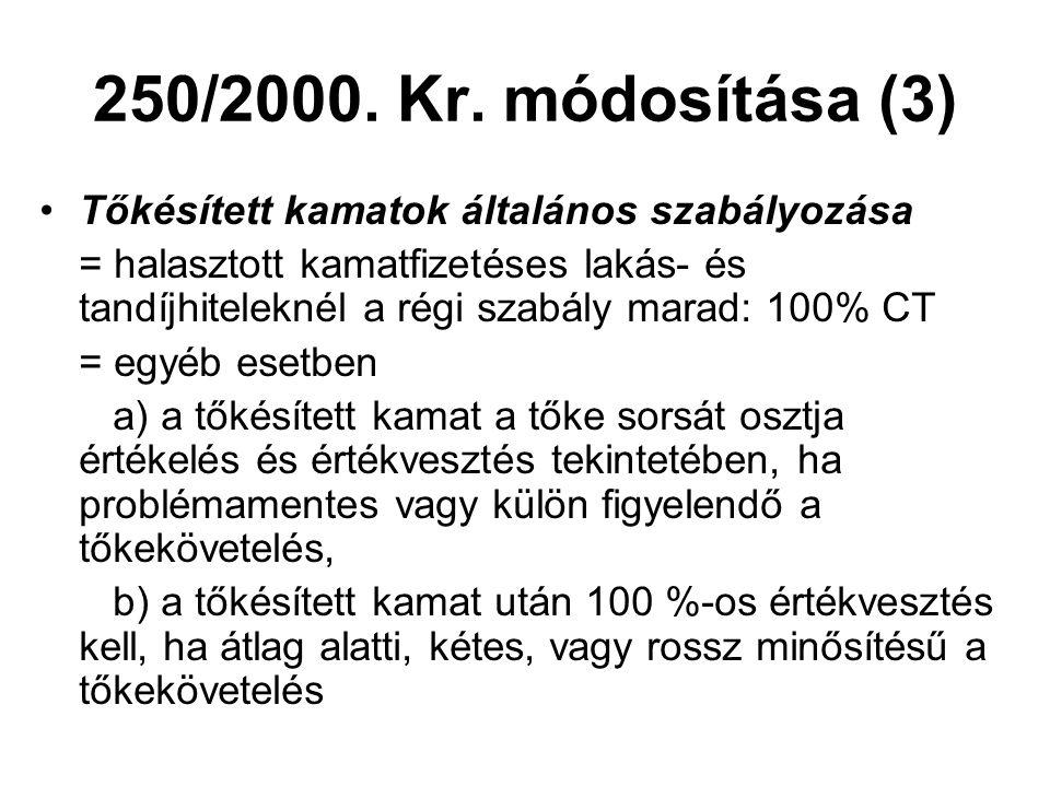 250/2000. Kr. módosítása (3) •Tőkésített kamatok általános szabályozása = halasztott kamatfizetéses lakás- és tandíjhiteleknél a régi szabály marad: 1