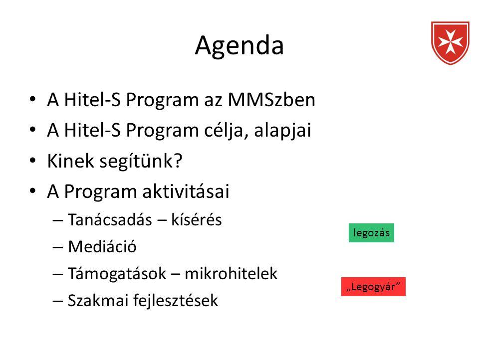 Agenda • A Hitel-S Program az MMSzben • A Hitel-S Program célja, alapjai • Kinek segítünk? • A Program aktivitásai – Tanácsadás – kísérés – Mediáció –