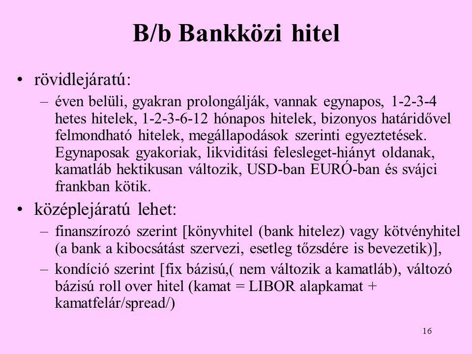 16 B/b Bankközi hitel •rövidlejáratú: –éven belüli, gyakran prolongálják, vannak egynapos, 1-2-3-4 hetes hitelek, 1-2-3-6-12 hónapos hitelek, bizonyos határidővel felmondható hitelek, megállapodások szerinti egyeztetések.